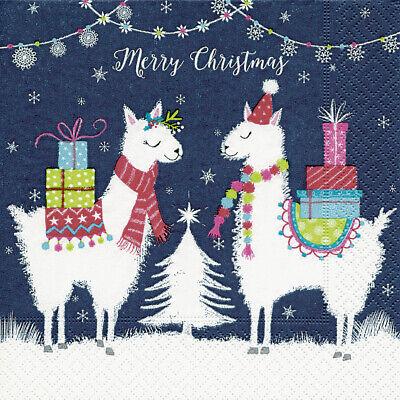 20 Serviette 33 cm Lama Weihnachten Tier Kinder  33 x 33 cm