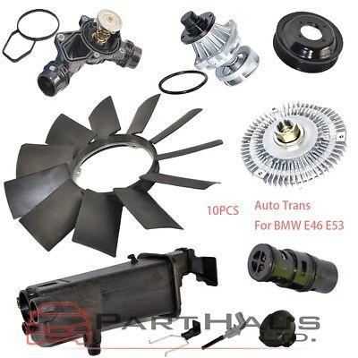 E46 Expansion Tank Thermostat Cap Sensor Water Pump Fan Clutch Blade Pulley Set