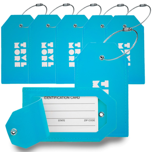 7 Pack TravelMore PU Leather Luggage Tags For Suitcases w/Pr