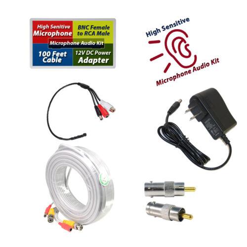 CCTV High Sensitive Microphone Kit Audio Mic Power & 100 Feet Cable