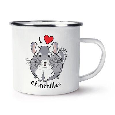 Ich Liebe Chinchillas Retro Emaille Becher Tasse - Lustig Tiere Camping