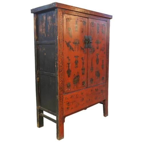Antique Chinese Red Lacquer Kang Cabinet 19th century