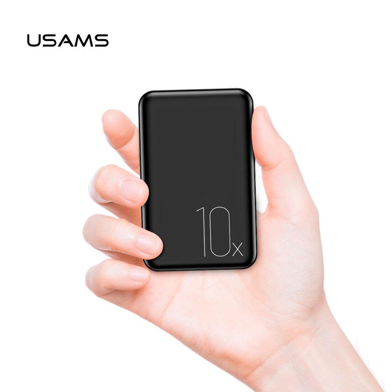 Bateria externa cargador portatil 10000mAh USAMS mini Power Bank dual USB