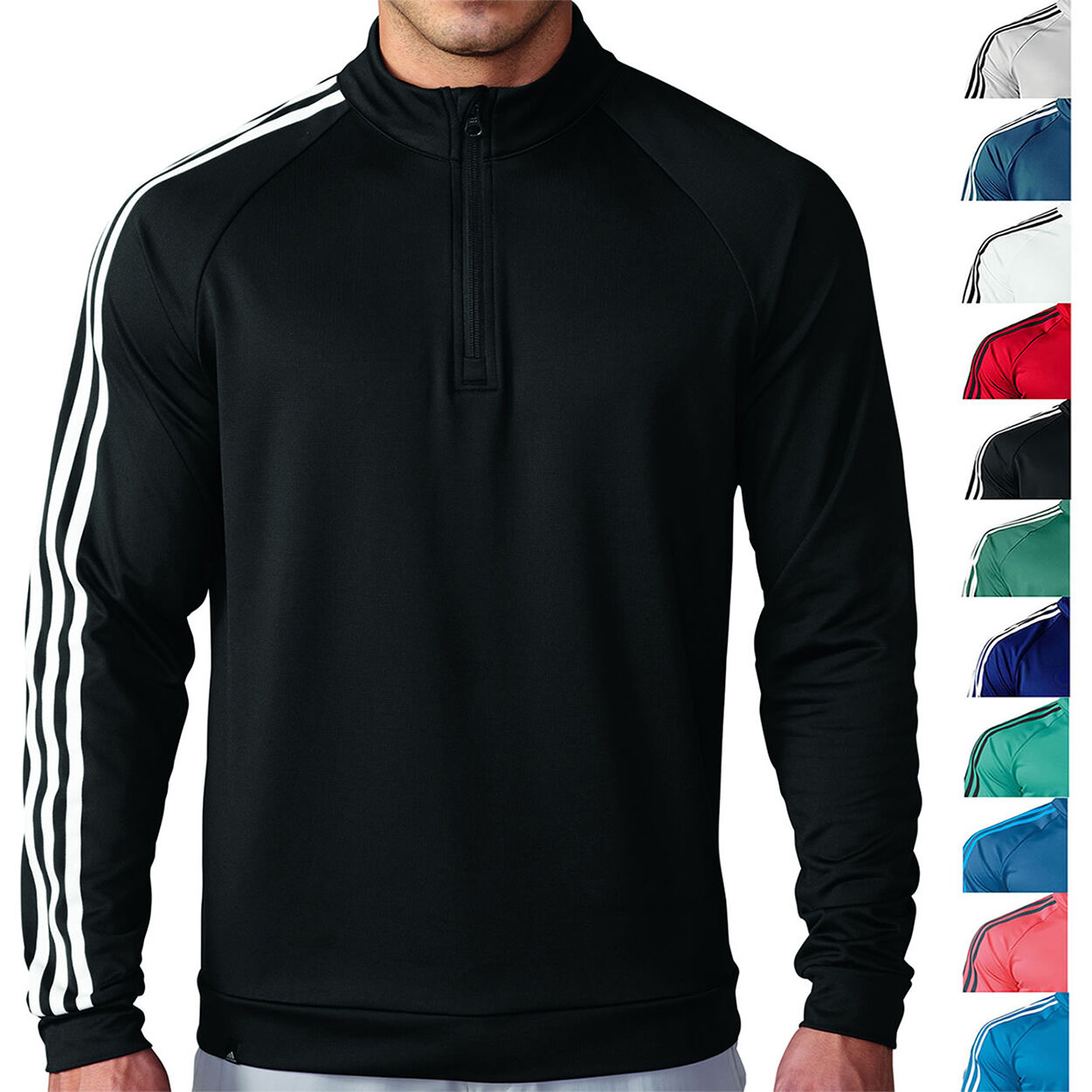 Adidas Golf 3 Stripes 1/4 Zip Pullover Mens New