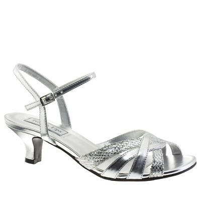 Touch Ups Womens Jane Low-Heel Sandal Silver Size 10 #NCMVG-M93 Touch-ups Low Heel Heels