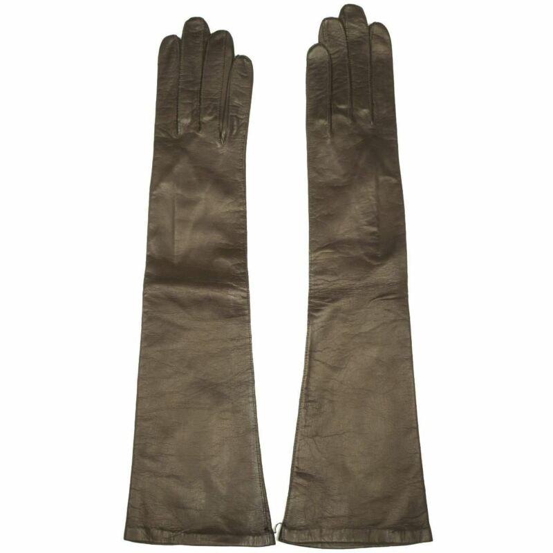 Vintage 1950s Long Brown Kid Leather Gloves Unused Made in France Ladies Sz 6.5