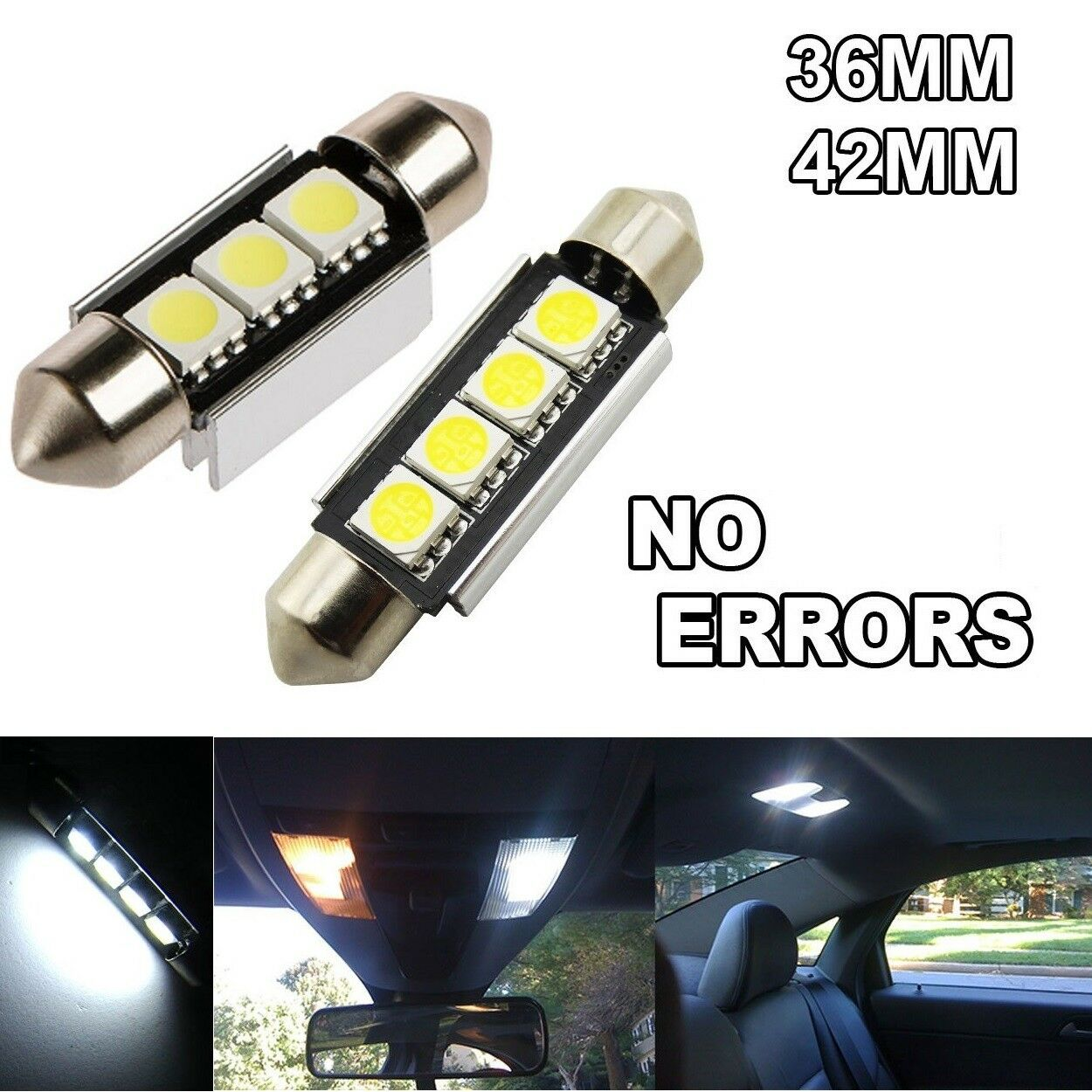 C5W Bulbs Car Festoon LED 5050 3 & 4 SMD Lights Error Free Dome Interior CANBUS