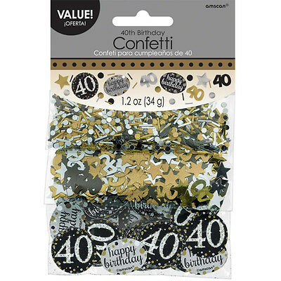 40th Birthday Confetti Table Decoration Sprinkle Black Silver Gold Age 40 Party  - 40th Birthday Decor