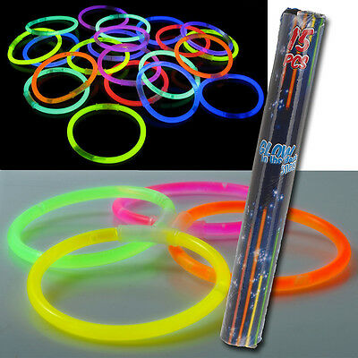 COLOURED GLOW GLO IN THE DARK STICKS BRACELETS HEN NIGHTS KIDS ADULTS PARTY TOYS