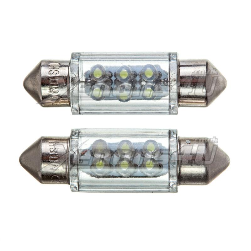 2x 36mm Number License Plate 6 LED Xenon White 6000K Festoon Light Bulbs C5W