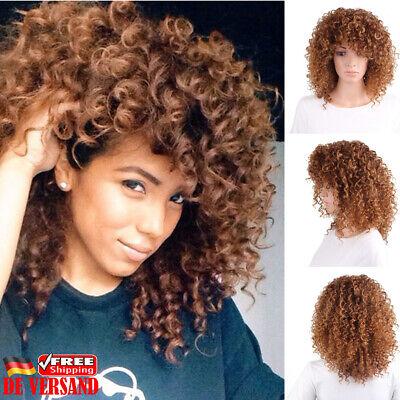 Damen Braungold Explosives Haar Perücke Wig Lockiges Haarteile Kurzhaarperücke ()