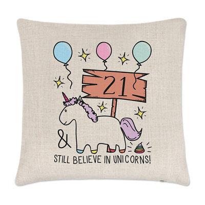 21. Geburtstag trotzdem Glauben in Unicorns Leinen Kissenbezug - Lustig Froh
