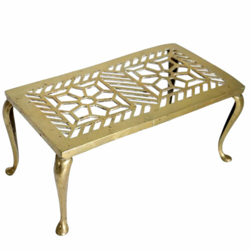Antique English Reticulated Brass Fireplace Hearth Trivet c. 1900
