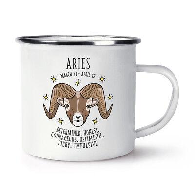 Aries Horoscope Retro Enamel Mug Cup - Horoscope Star Sign Astrology Zodiac