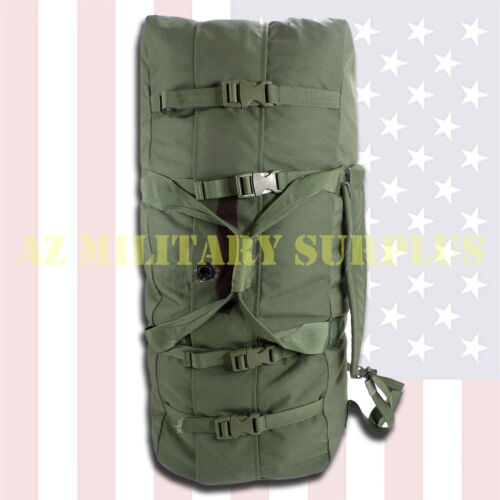 Duffel Bag Improved US Military Heavy Duty Canvas w/Straps Buckles Cinching USGI