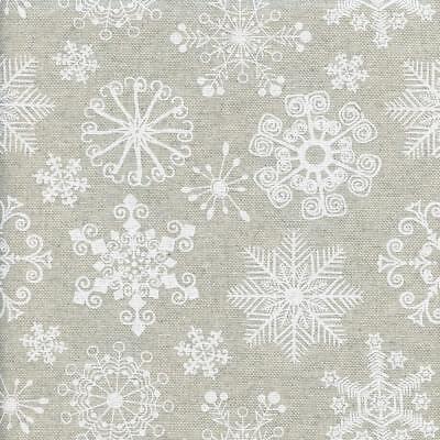 inter Wonderland fabric - white snowflakes 155 cm wide (Winter White Wonderland)