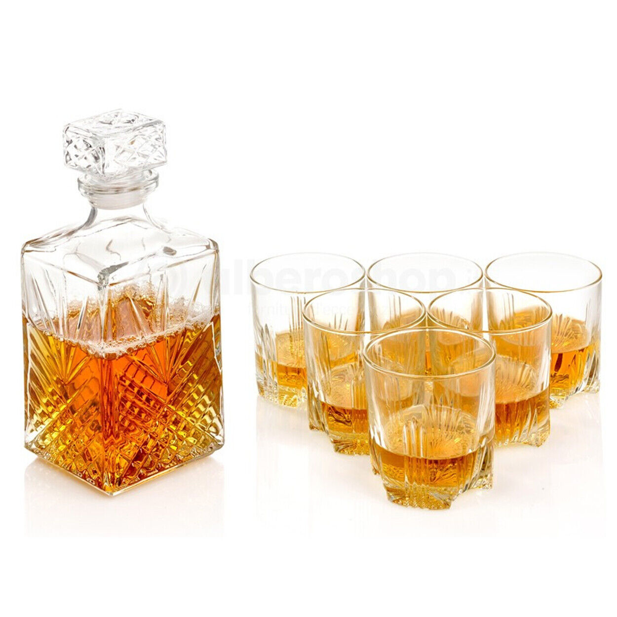 Whisky Decanter Gift Box Set 7 Piece Bormioli Rocco Whiskey Tumblers Glasses