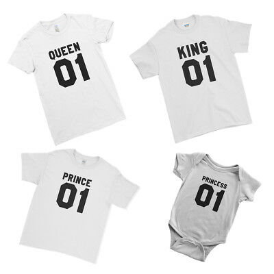 King Queen Prince Princess Kids Baby Matching Family Couple Team T-Shirt