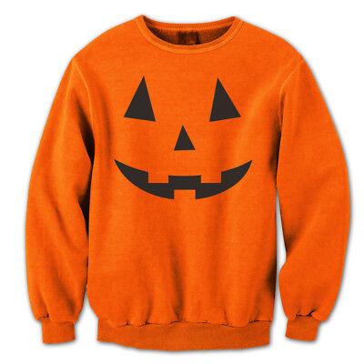 Pumpkin Adult Costume (Adult Pumpkin Face Funny  Humor  Costume Orange Crewneck)