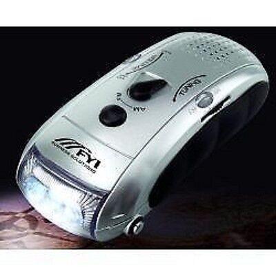- Dynamo Flashlight - AM/FM Radio - Cell Phone Charging Port - No Batteries