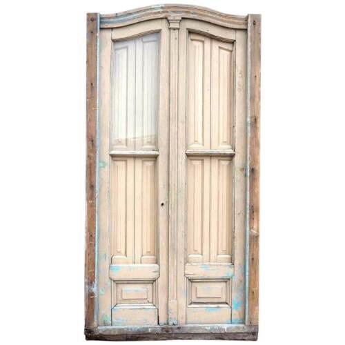 Antique Argentine Beaux-Arts Painted Wood & Glass Arched Shutter Window c. 1890