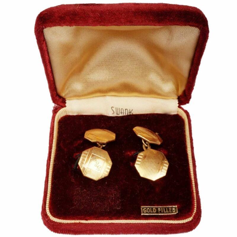 Vintage Swank Gold Filled Cufflinks Chain Link Monogrammed FEW