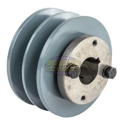 Cast Iron 3.75 2 Groove Dual Belt B Section 5l Pulley With 1 Sheave Bushing
