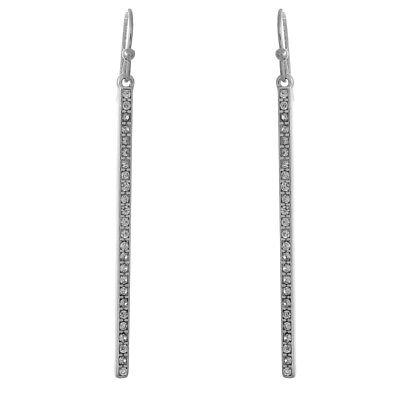 Crystal Pave Vertical Bar Drop Dangle Silver Tone Women Fashion Earrings  Bar Drop Dangle Earrings
