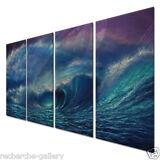 Metal Wall Art Decor Set Ocean Waves Sculpture Hand Made Painting Sea Wave 2