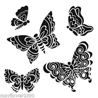 """Crafters Workshop STENCIL  template mask 6"""" x 6""""  SOLID DOODLE  BUTTERFLIES"""