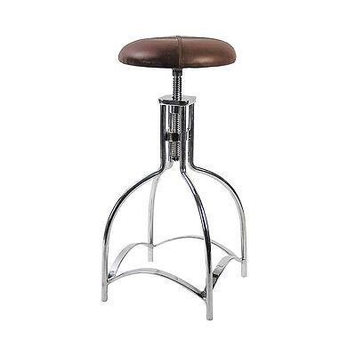 """Leather Speakeasy Seat Bar Stool Kitchen Chair Aluminum Adjustable 32.25"""""""