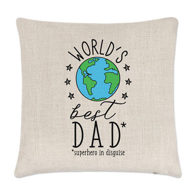 World's Best Dad Linen Cushion Cover Pillow - Fathers Day Funny (Best Dad Pillows)