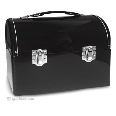 Plain Metal Dome Lunchbox - Black - Worker Style Domed Lunchpail Lunch Box Pail