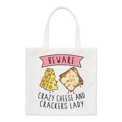 Hüten Sie Sich Vor Verrückt Käse Und Cracker Damen Regular Tragetasche Lustig
