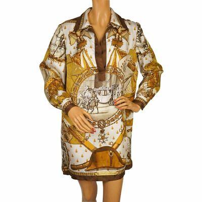 Vintage 1960s Hermes Paris Silk Scarf Shirt Dress Napoleon Pattern Signed Ledoux