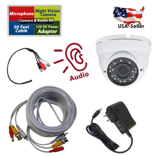 Night Vision Security Camera with High Sensitive Microphone + Power + Cable Kit