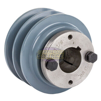 Cast Iron 3.35 2 Groove Dual Belt B Section 5l Pulley And 1-18 Sheave Bushing