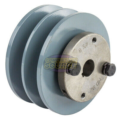 Cast Iron 3.75 2 Groove Dual Belt B Section 5l Pulley With 58 Sheave Bushing