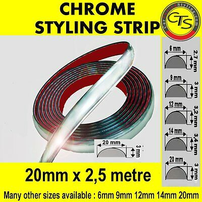 20mm x 2,5m CHROME CAR STYLING MOULDING STRIP TRIM ADHESIVE