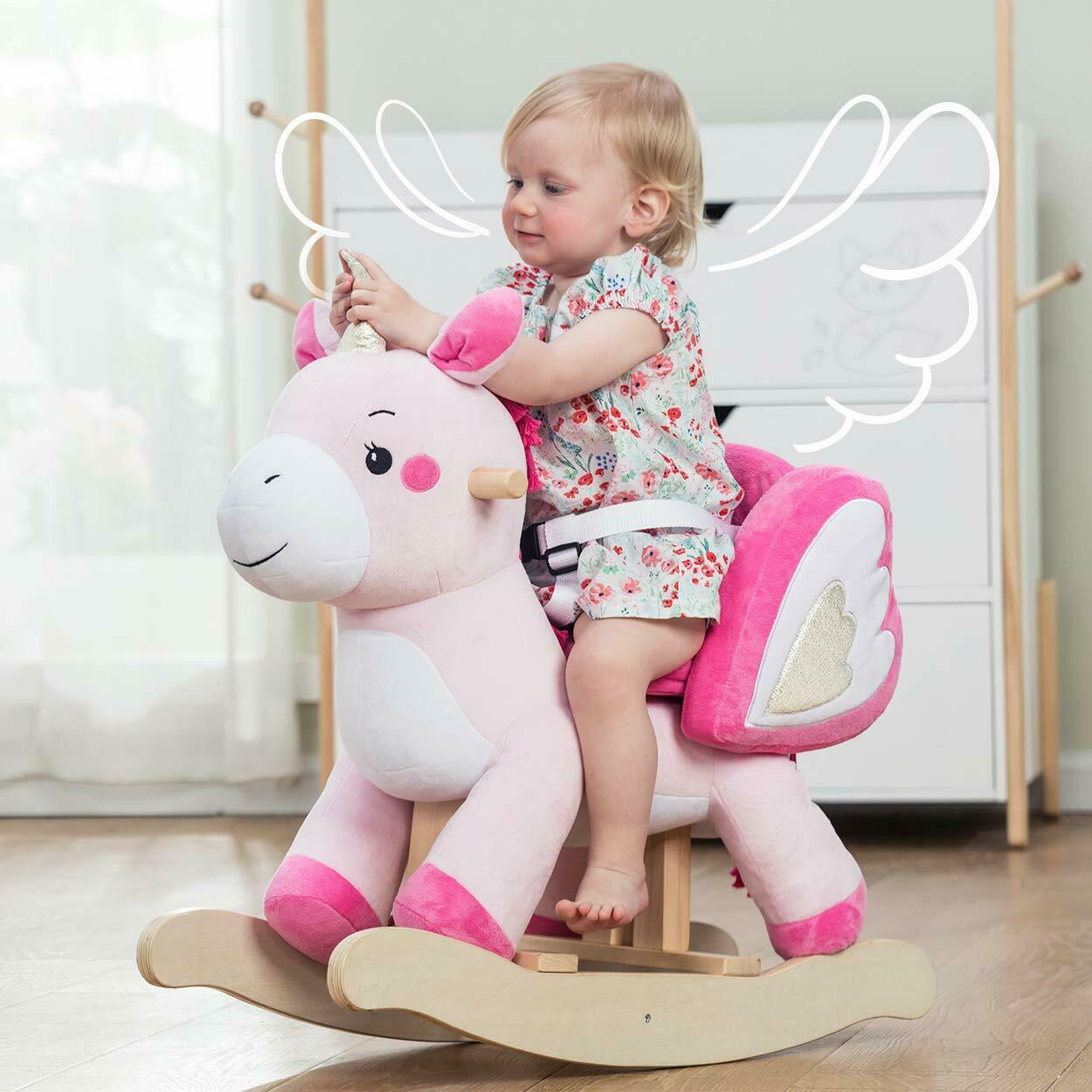 Groovy Kids Ride On Rocking Horse Toy Plush Pink Unicorn Animal Rocker Seat Belt Chairs Theyellowbook Wood Chair Design Ideas Theyellowbookinfo