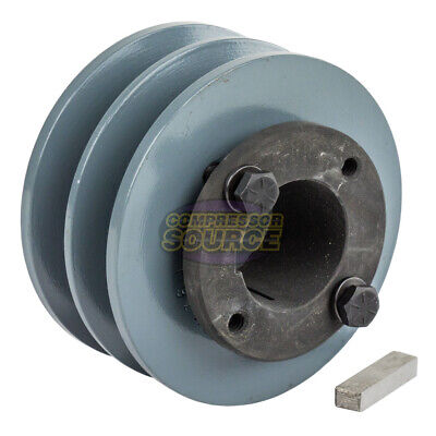 Cast Iron 3.75 2 Groove Dual Belt B Section 5l Pulley And 1-38 Sheave Bushing