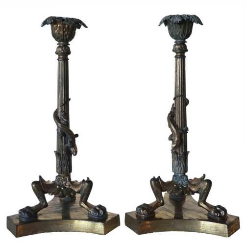 Pair of Antique French Napoleon III Gilt Bronze Lizard Candlesticks 19th century