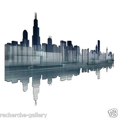 Chicago Reflection Contemporary City Painting on Metal Wall Art by Ash Carl
