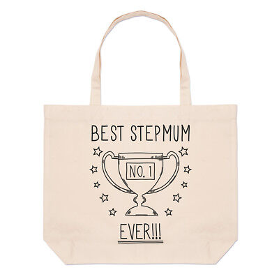Best Stepmum Ever No.1 Trophy Large Beach Tote Bag - Funny Mothers (Best Beach Bag Ever)