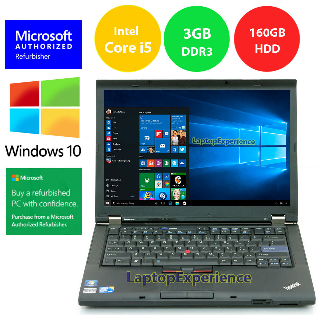 Laptop Windows - LENOVO THINKPAD T410 LAPTOP WINDOWS 10 WIN 32bit i5 2.4GHz 160GB HD DVD WiFi PC