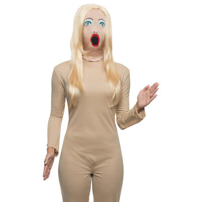 Blow Up Doll Mask With Wig Sassy Female Woman Sexy Costume Face Hair Funny Humor - Costume With Wig