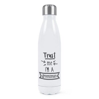 Trust Me I'M A Padrino Doble Pared Agua Botella Divertido Boda Broma