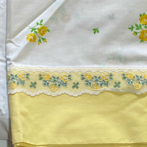 """Lady Pepperell Yellow Rose Lace Trim Percale Full Sheet Vintage Fabric 80"""" X 96"""""""