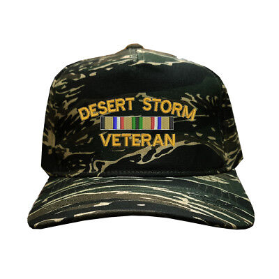 Cotton Desert Storm Camouflage - 100% Cotton Tiger Camo Camouflage 5 Cap Hat U.S. DESERT STORM VETERAN
