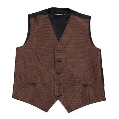 Men's Brown Pattern Tuxedo Vest Formals Weddings Proms Fashion Waistcoats ()